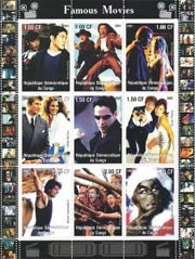 Congo 2001 Hollywood Famous Movies 9v Mint Full Sheet.